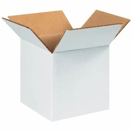 Kraft Paper Single Wall - 3 Ply 3 Ply White Packaging Corrugated Box 4x4x4 inches, for Gift & Crafts, Box Capacity: 6-10 Kg