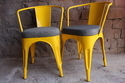 Metal Tolix Restaurant Cafe Chair With Fabric Seat, Seating Capacity: 1 Person, Size: 17x16x32 Inch