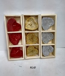 Heart-shaped Floating Candle With Glitter (Set Of 3)