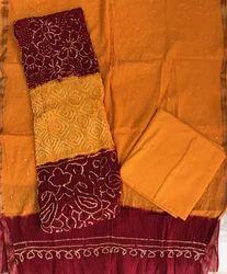 Cotton Unstitched Bandhani Suit