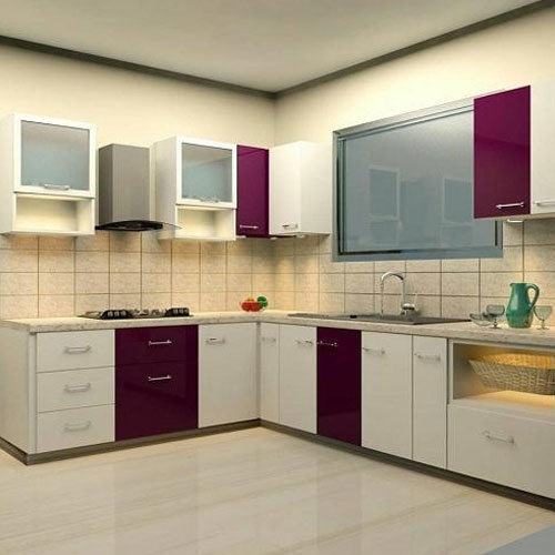 White And Brown Wooden Designer Kitchen Cabinet Rs 40000 Set Id 7448808330