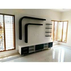 black and white designer tv wall unit, rs 430 square feet, ajiblack and white designer tv wall unit