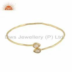 Natural Citrine Gemstone Gold Plated 925 Silver Bangle