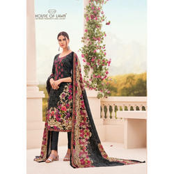 Party Wear Round Neck Black Printed Semi Stitched Suit