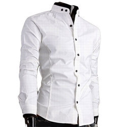 White Cotton Men Party Wear Plain Shirt