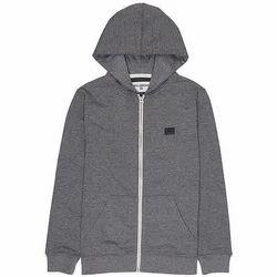 Cotton Plain Kids Hooded Jacket