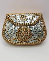 Silver and Golden Mosaic Metal Clutches