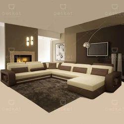 U Shape Apex Fabric Sofa