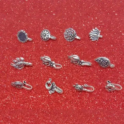 Fancy Artificial Silver Nose Pin Rs 80 Piece Ss Collection Id