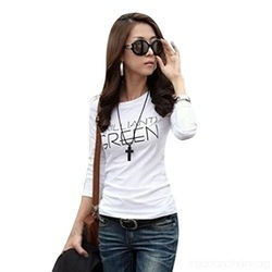 Cotton Half Sleeve Ladies Printed Round Neck T Shirt