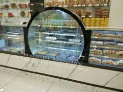Round Glass Sweet Display Counter