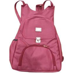Maroon PVC Ladies Backpack Bag