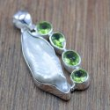 925 Sterling Silver New Designer Jewelry Pearl, Peridot Gemstone Pendant Wp-6077