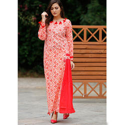 Cotton Round Neck Embroidered Kurti
