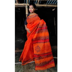 Casual Wear Resham Tant Block Printed Saree, 6.3 Meter With Blouse