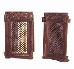 Black Standard Teak Carved Windows Pair with Iron Grills