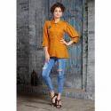 Orange Ladies Rayon Plain Top