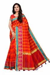 Chanderi Silk Weaving  Saree With Blouse Piece
