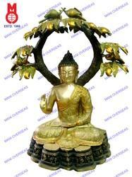 Lord Buddha Sitting Under Tree In Antique Brown