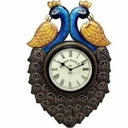 Wooden Peacock Design Wall Clock
