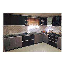 Plywood Carcass Material L Shaped Modular Kitchen