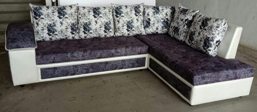 White Purple Corner Sofa With Puffy