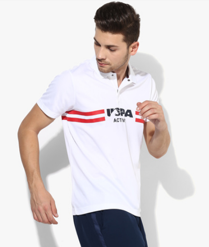 U S Polo Assn White Graphic Regular Fit Polo T Shirt At Rs 1000