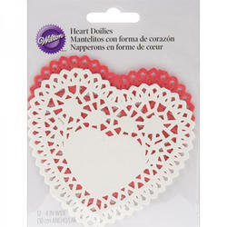 WILTON-Paper Doilies-Heart Red & White. W56448