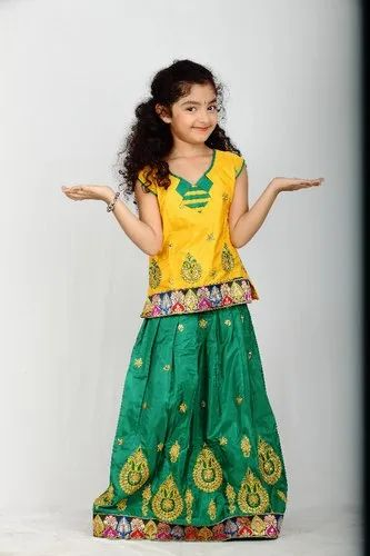 Green and Yellow Kid Pattu Pawada Set
