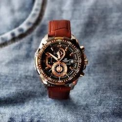 Round Casual Brown Strap Men Watch for Daily