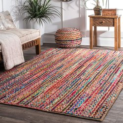 Floral Square Hand Block Printed Cotton Rugs