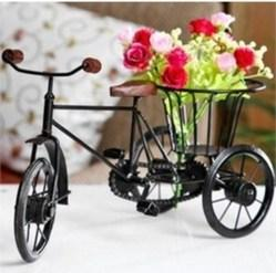 Black Wooden & Wrought Iron Small Miniature Tricycle Flower Riksha, Size/dimension: 12x6x6