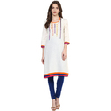 Cotton Cream Color Embroidered Kurti For Ladies, Size: Xl
