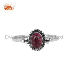 Pink Tourmaline Gemstone Oxidized Silver Womens Rings