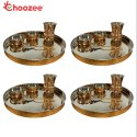 Choozee - Copper Thali Set of 4 (20 Pcs) of Thali, Bowl, Spoon & Matka Glass