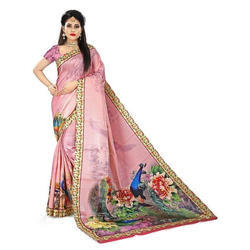 Party Wear Ladies Printed Saree, Hand Made