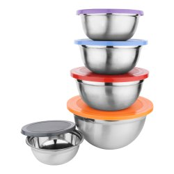 Stainless Steel Multi-Color Lid Air-Tight Bowl Set of 5 Pcs (2000ml,1500ml,1000ml,500ml,400ml)