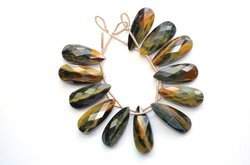 Natural Chatoyant Multi Tiger Eye Faceted Long Pear Pair Briolette Beads
