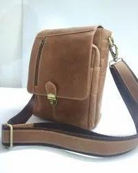 Push Lock Closure Suede Leather Satchel Bag
