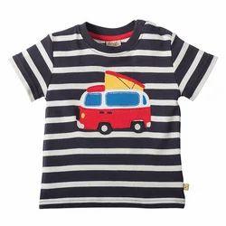 Navy Horizontal Stripes Half Sleeves T-Shirt