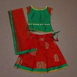 Chilli Red 'N' Sapphire Green Silk Skirt-Set Has A Netted Dupatta with A Taping Border