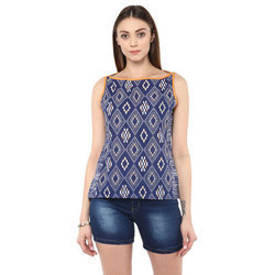 Cotton Sleeveless Blue Girls Casual Top
