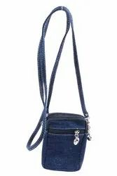 Jeans Material Side Sling Bag With Long Adjustable Strap