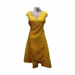 Yellow Ladies Sleeveless Kurti, Size: L, XL, XXL