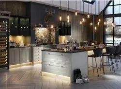 Wooden U Shape Island Kitchen