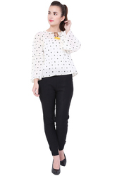 Dot Printed White Ladies Top