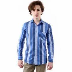 Striped Slim Fit Vida Loca Blue Color Cotton Shirt