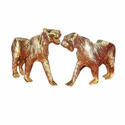 Golden Handicrafted Aluminium Tiger Set for Decoration