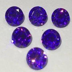 Blue Round American Diamond