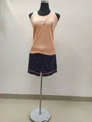 Cotton Printed Girl Fancy Night Suit, Top and Shorts